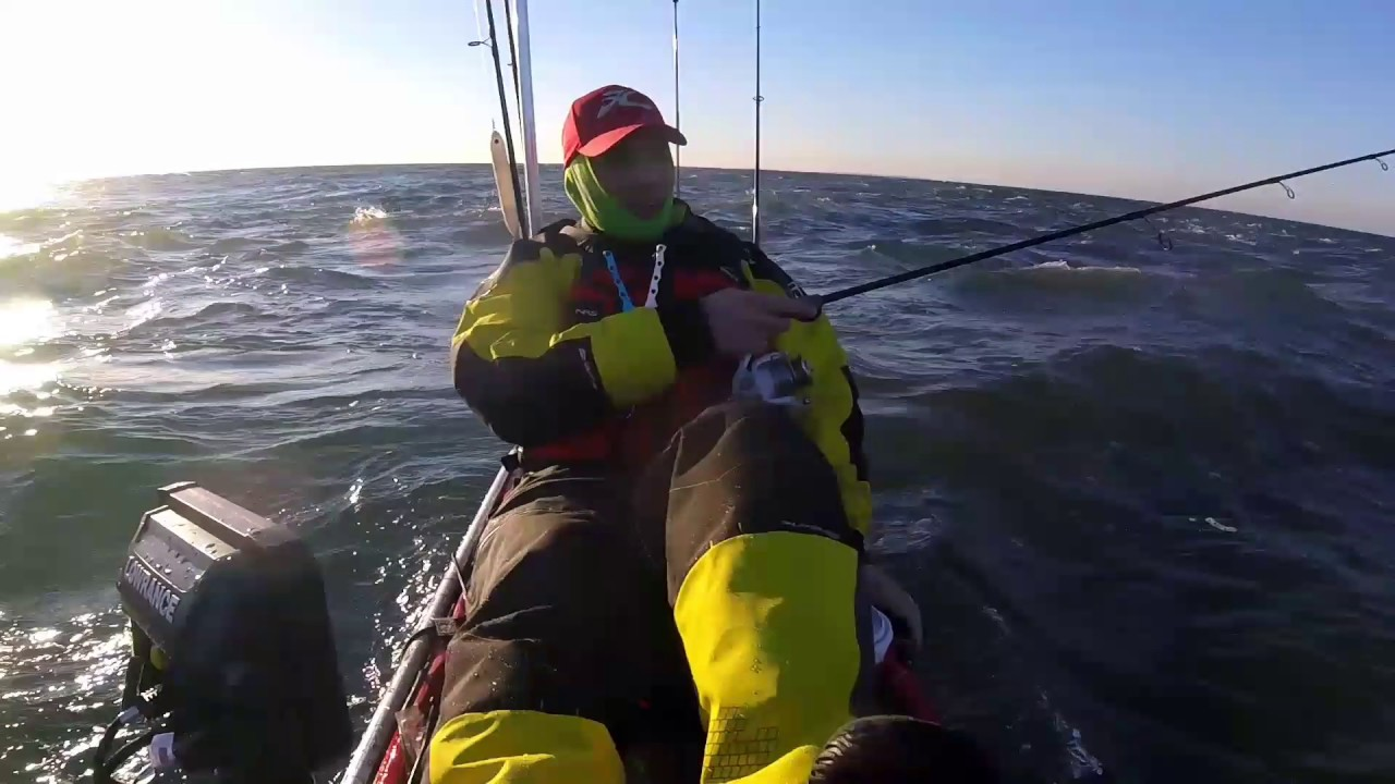 Winter hobie kayak fishing in long island sound youtube for Long island sound fishing report