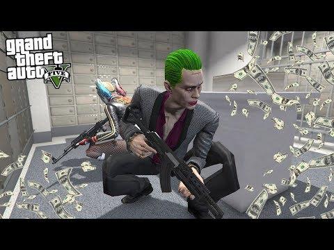 THE JOKER and HARLEY QUINN ROBS A BANK! (GTA 5 Mods)