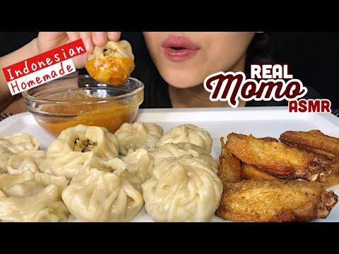Download ASMR EATING MOMO AND CHICKEN WINGS | Nepali food | ASMR INDONESIA
