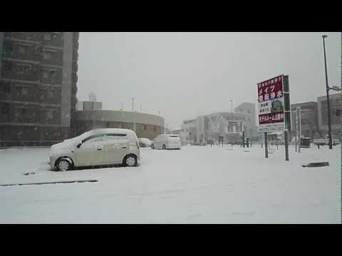 Snow Drive In Rare Heavy Snowfall in Toyota City, Aichi, Japan