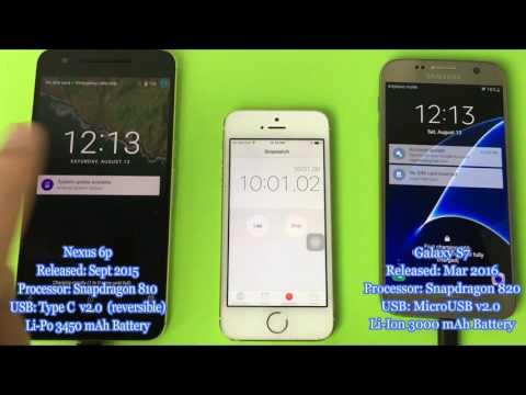 USB Type C -vs- Micro USB From 0% To 100% | Nexus 6P -vs- Galaxy S7