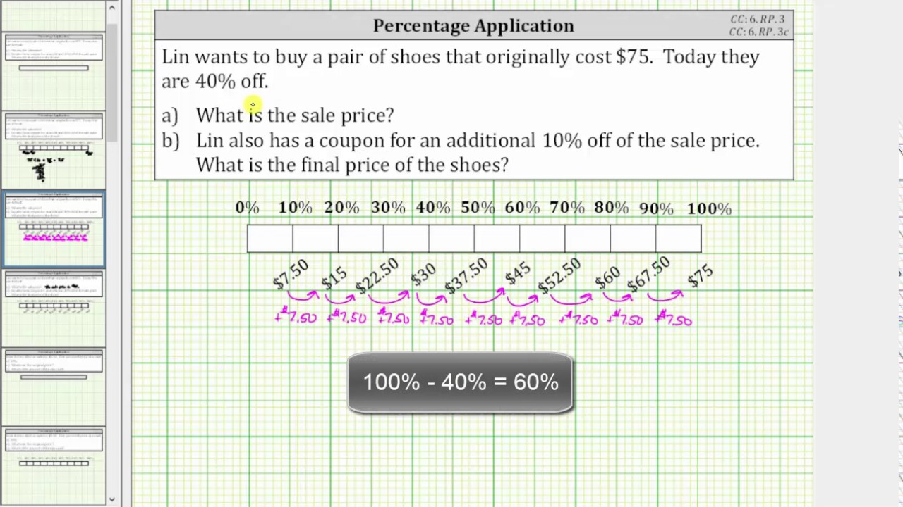 percent application determine a sale price using a tape bar diagram cc 6 rp 3  [ 1280 x 720 Pixel ]