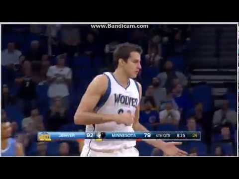 Nemanja Bjelica corner 3-pointer - Minnesota Timberwolves vs. Denver Nuggets - NBA - 03/11/2016