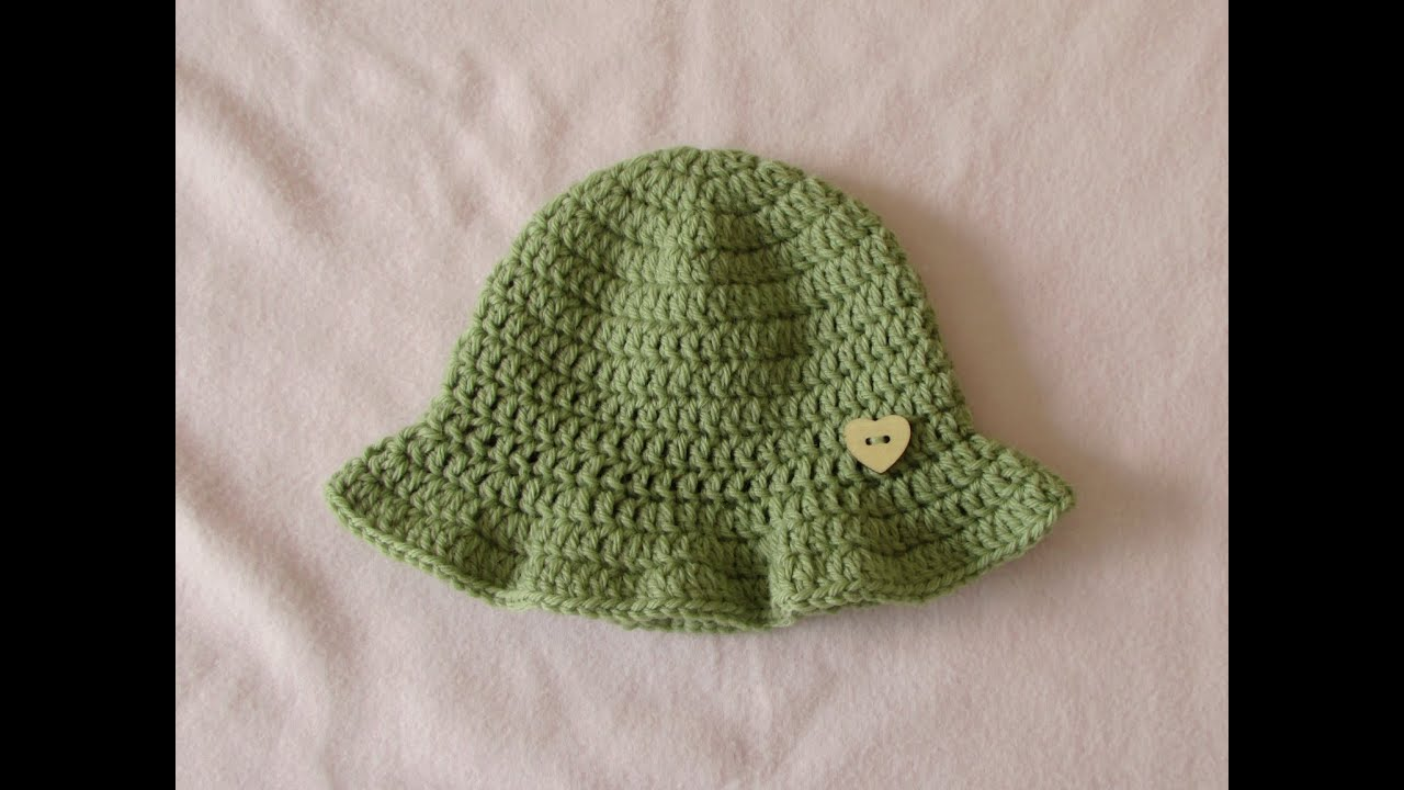 Crochet Baby Hat Tutorial Step By Step : VERY EASY simple crochet baby sun hat tutorial - summer ...