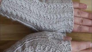 "Митенки спицами узором ""Мелкие косички"". Как связать митенки. Knitting mittens"