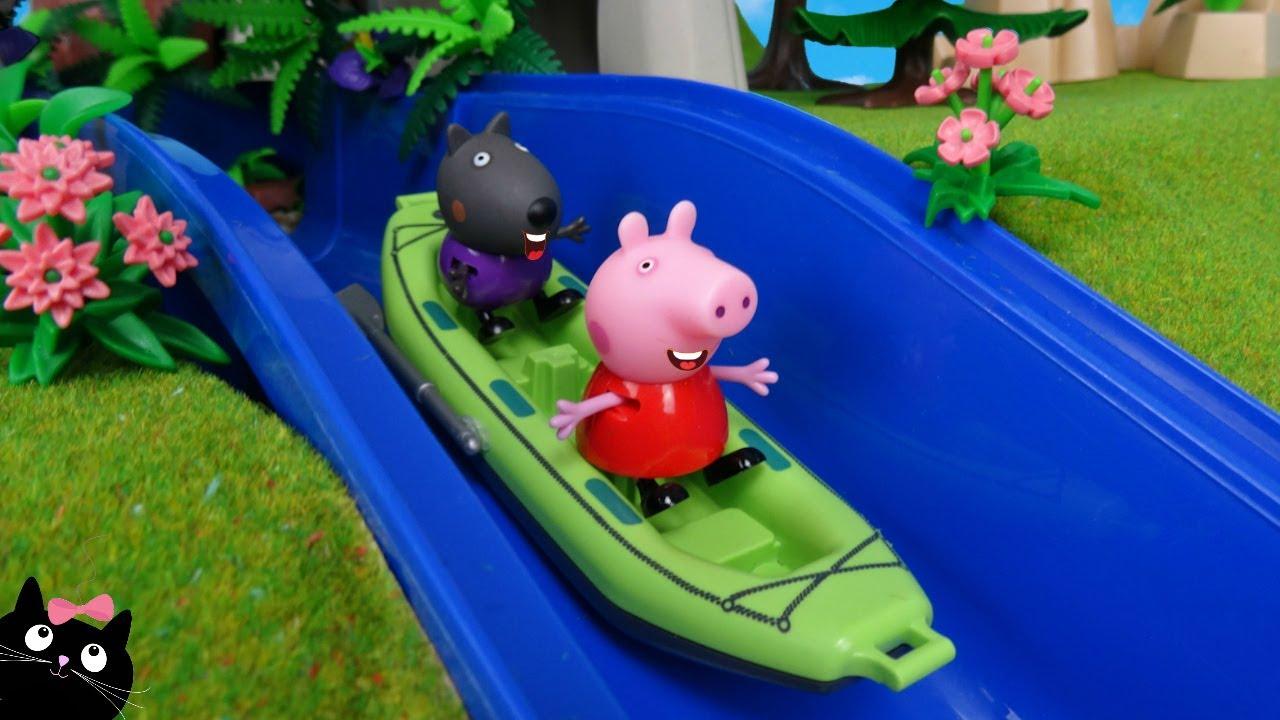 Peppa Pig Juguete ACUATICO  Actividades de AGUA en la CASA del PARQUE Forestal PLAYMOBIL