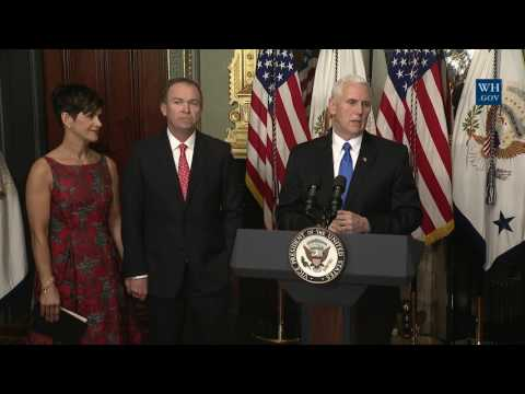 Vice President Pence Participates in the Swearing-In of Mick Mulvaney