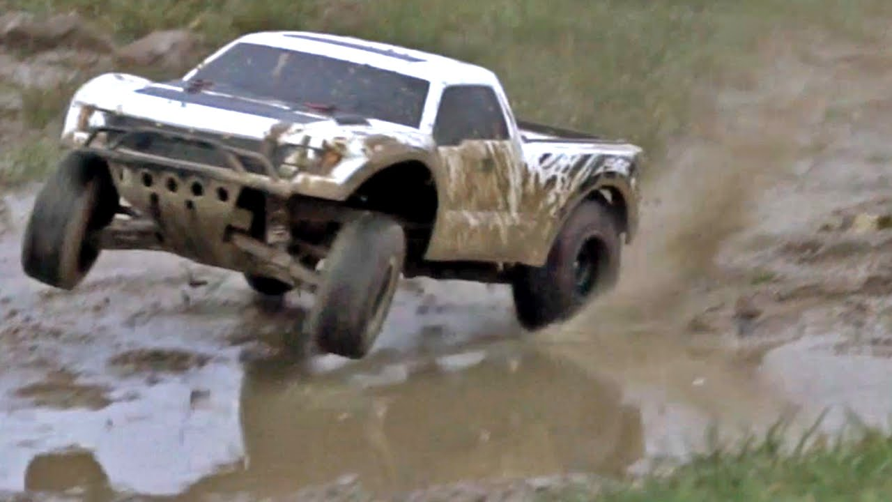 Traxxas slash 2wd tsm ford raptor raps the ground mud wheely pure action youtube