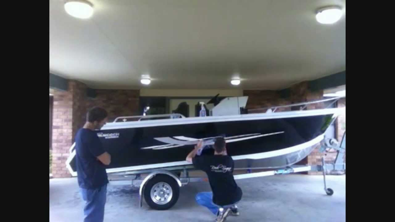 BOAT GRAPHICS DECAL STICKER APPLICATION By REEL SIGNS YouTube - Vinyl boat graphics decals