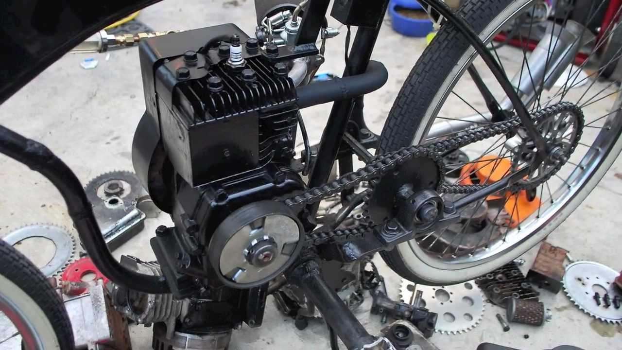 Homemade briggs and stratton bike youtube for Little motors for bicycles