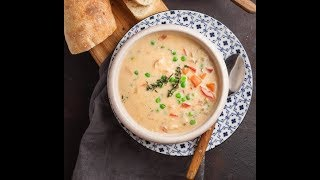 [EN] Cream of Chicken Soup / شوربة دجاج بالخضار - CookingWithAlia - Episode 658