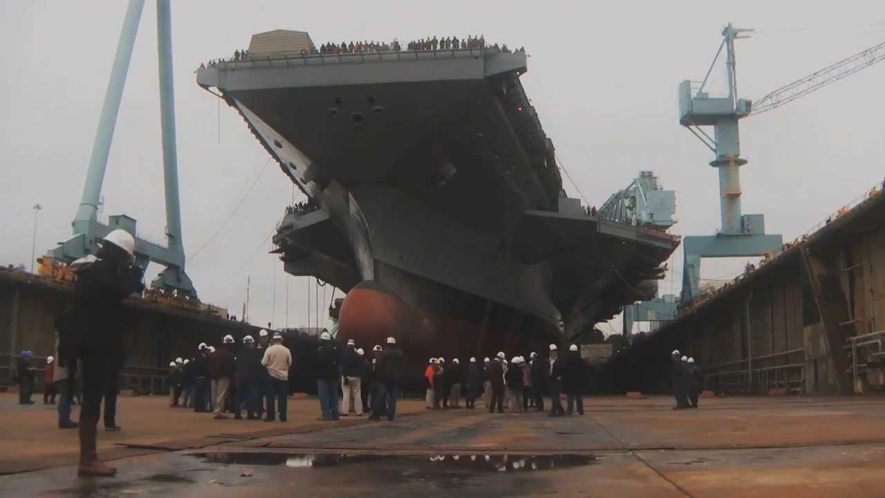Dry Dock 12 Flooded at Newport News Shipbuilding - YouTube