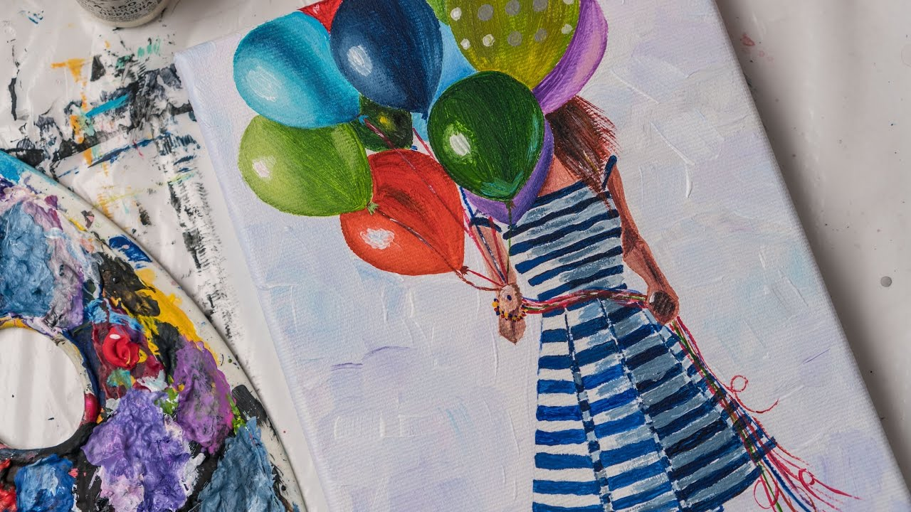 With Colored Balloons Acrylic Painting Homemade Ilration 4k