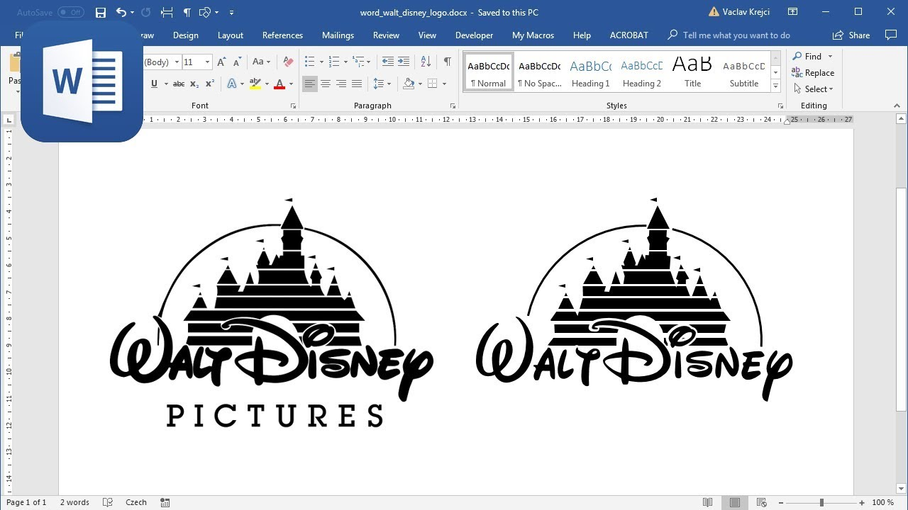 How to create Walt Disney logo in Microsoft Word (Tutorial)