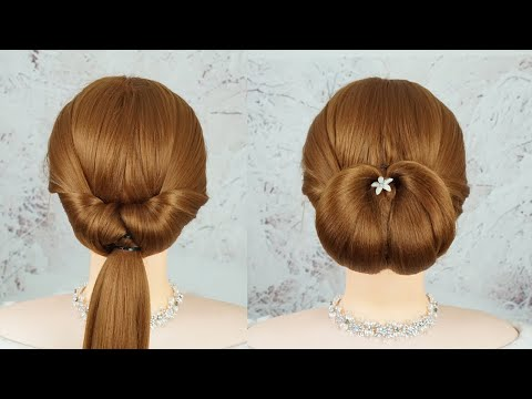 2-Minute Elegant Bun Hairstyle ★ Easy Updo Hairstyles | Easy Wedding Hairstyle Step By Step