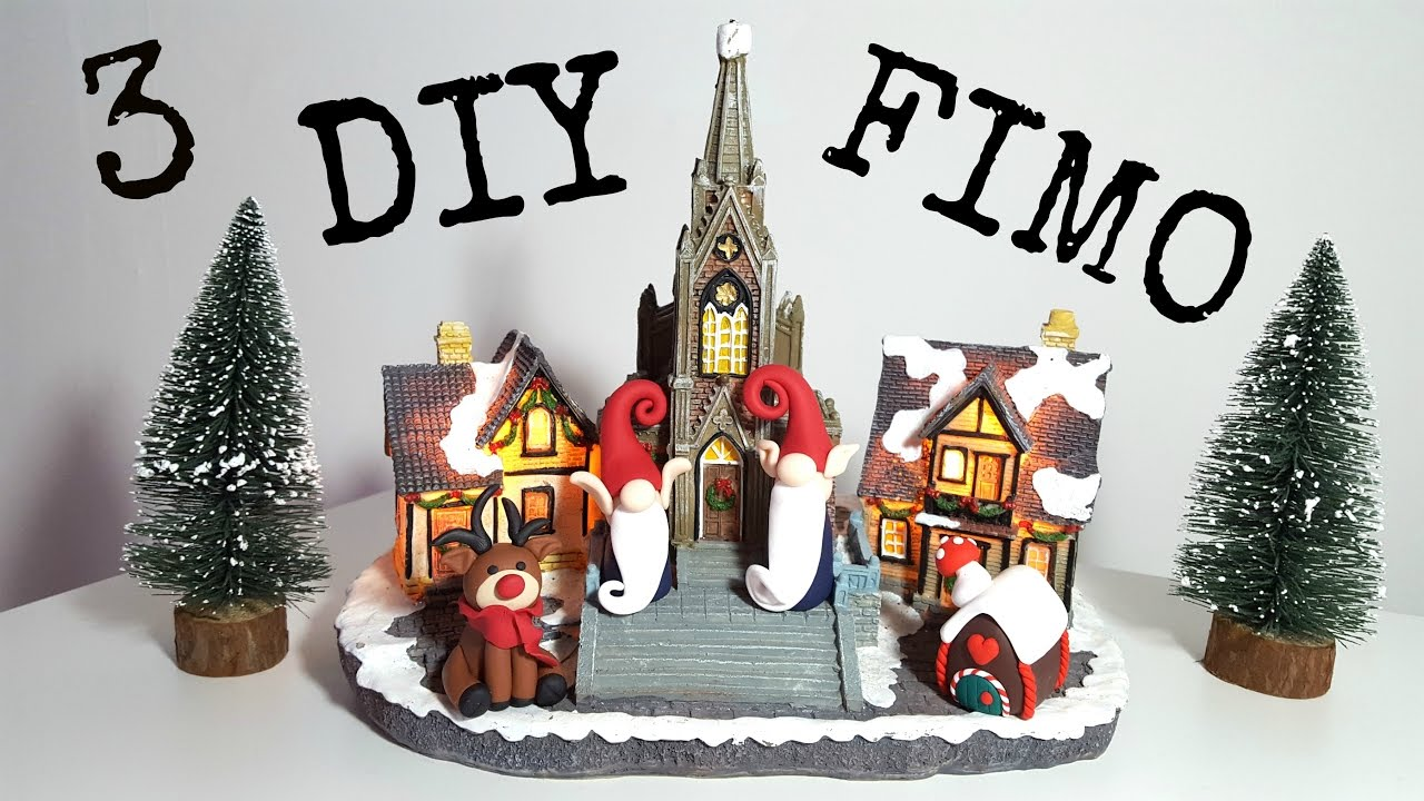 Polymer Clay Christmas Village.3 Diy Figurines Noel En Pate Fimo Christmas Polymere Clay