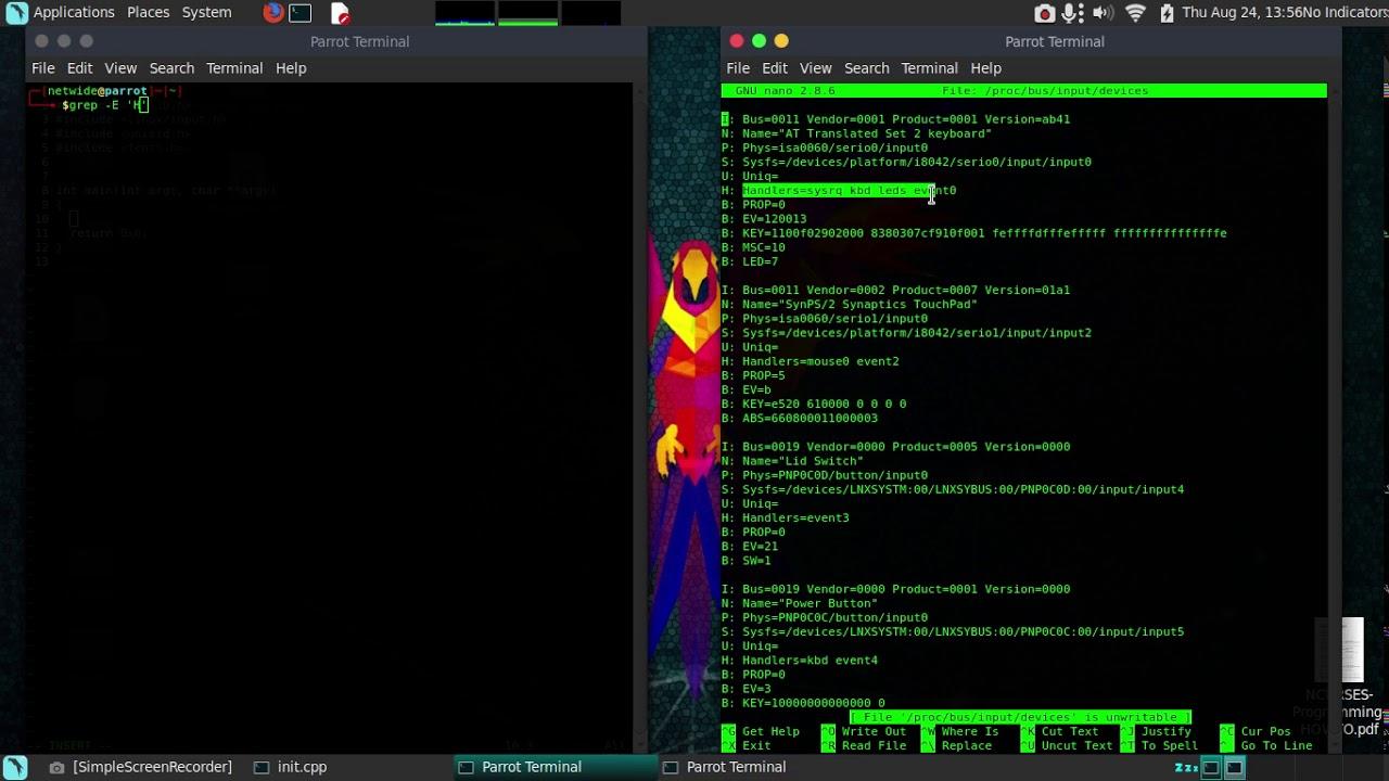 Keylogger en linux C/C++