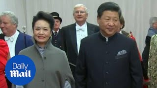 Chinese President and wife Madame Peng arrive for banquet - Daily Mail
