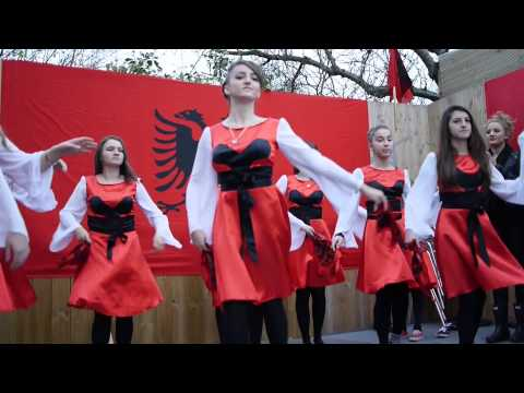 British Albanian girls dancing for 100th Anniversary of Albania's Independence in London, 25.12.2012