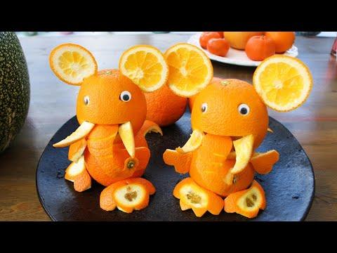 How to make Orange Elephant   Fruit Carving Orange Ganpati Garnishes