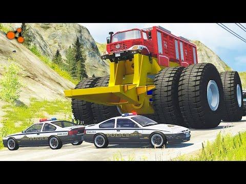Beamng Drive - Giants Machines Crushes Cars #2 (Giants Wheels Crush Cars)