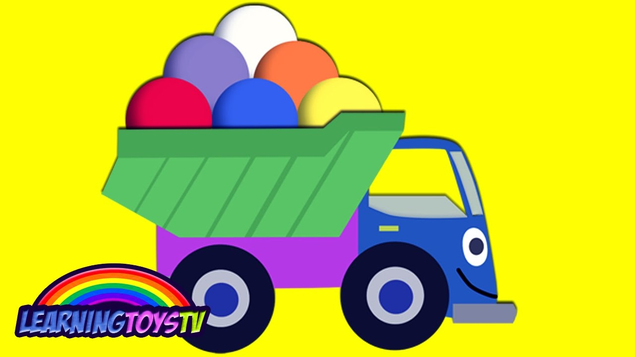 LEARN COLORS WITH TRUCK! A LOT OF COLORED BALLS FOR CHILDREN LEARN ...