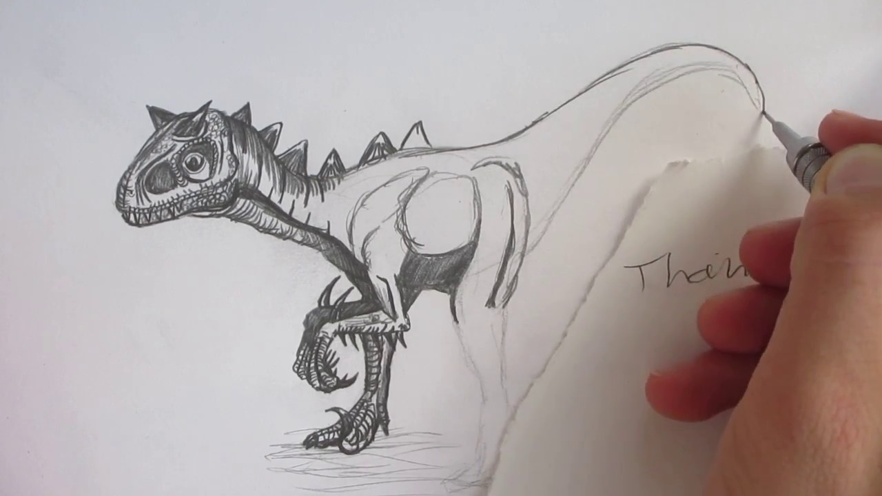 How To Draw Carnoraptor From Jurassic World The Game Youtube