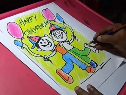 How To Draw Children S Day Greeting Drawing For Kids Step By Step