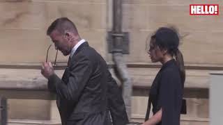 David and Victoria Beckham arrive at the royal wedding