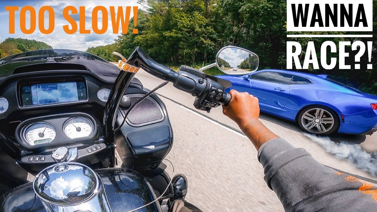 Sports Car Races My Harley-Davidson Road Glide 😳Road Trip To @Traveling Tall *Run To The Hills*