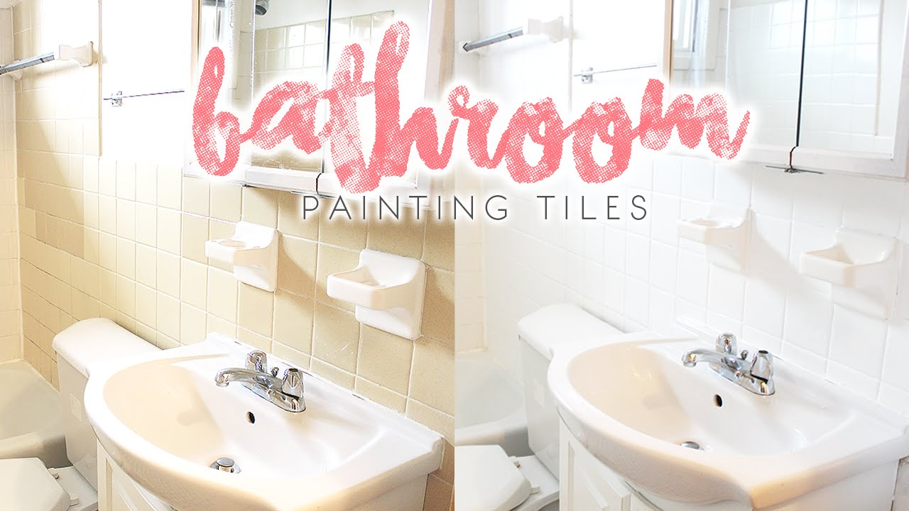 Bathroom makeover how to paint bathroom tiles youtube dailygadgetfo Images
