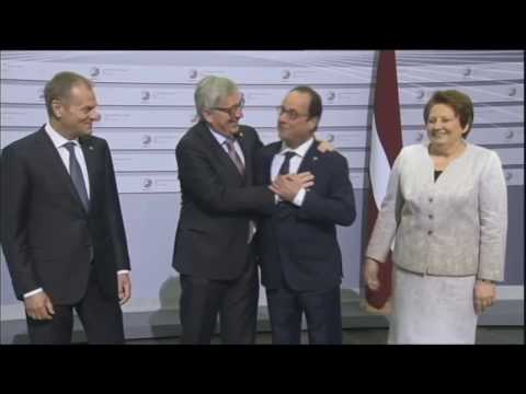 Jean-Claude Juncker and Donald Tusk having fun in the EU PARLIAMENT.