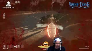 Snoop Dogg attacked by locusts live on stream