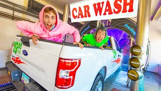 DRIVING MY FRIENDS THRU A CAR WASH PRANK!! (Gone Wrong)