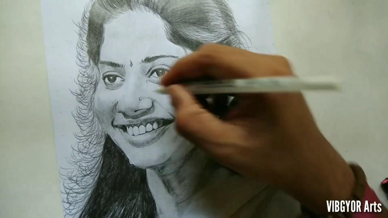 Pencil drawing of sai pallavi - YouTube