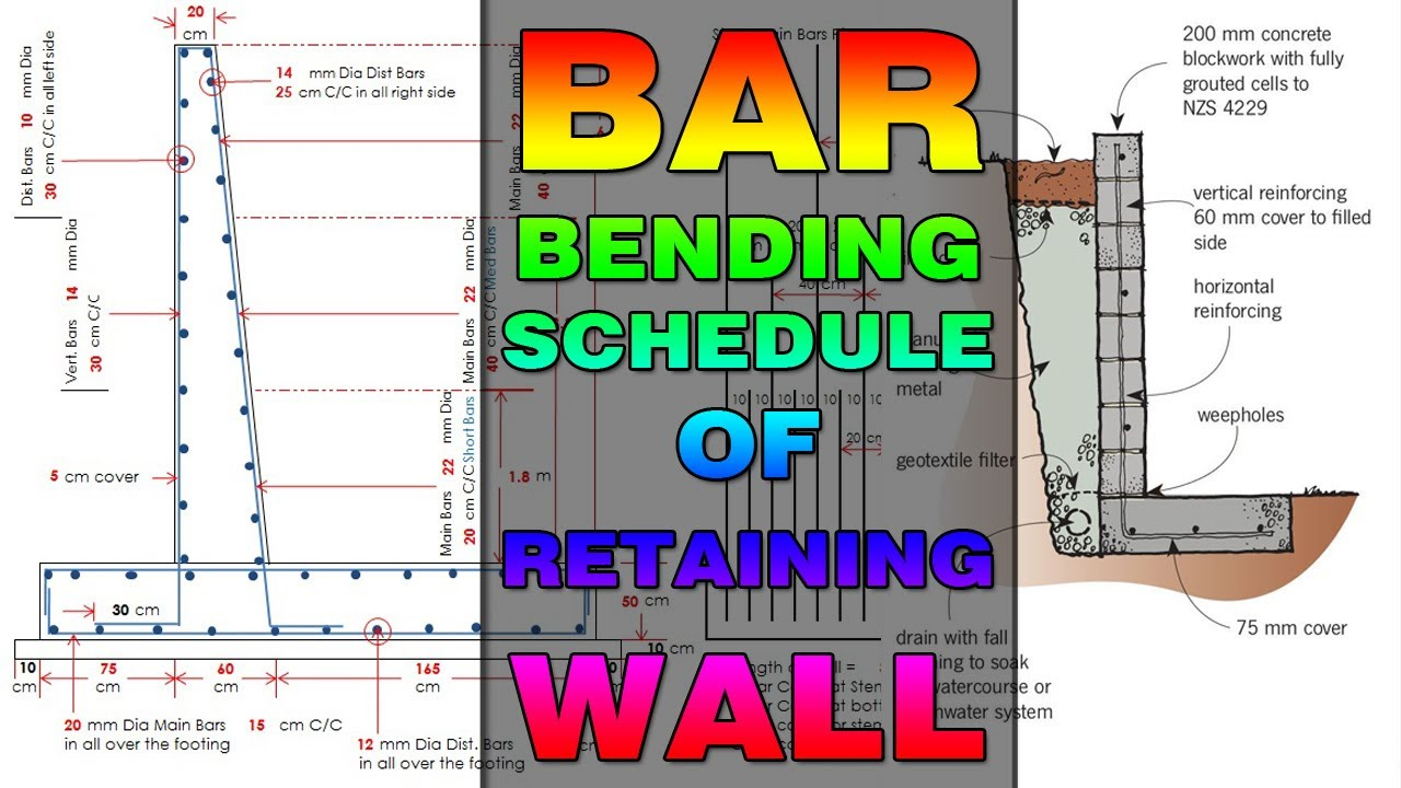 BBS (Bar Bending Schedule) of Retaining Wall | Estimate of Retaining Wall |  Volume Calculation Hindi