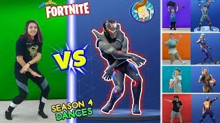 FORTNITE DANCE CHALLENGE in REAL LIFE #2 Saison 4 Dances HYPE, ORANGE JUSTICE, GROOVE JAM - POCORN