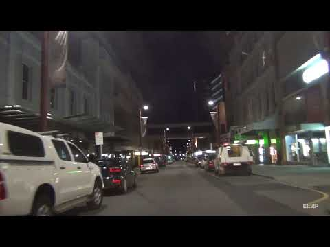 Hobart by night  -  driving through the city