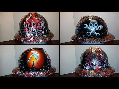 b830d98d9 detailed oilfield trash driller custom painted hard hat