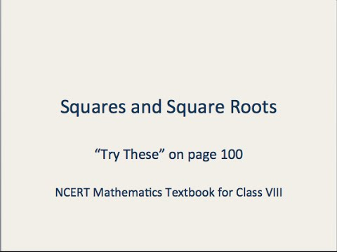 Math :: NCERT :: Class 8 :: Ch 6 :: Squares and Square Roots ...