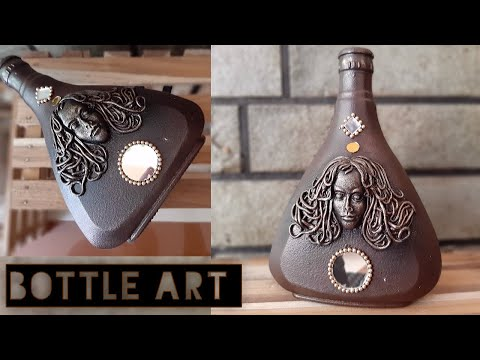 Bottle Art // Face Bottle Art // Antique Finish Bottle Art // DIY //