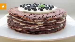 Шоколадный блинный торт с творожным кремом от Мармеладной Лисицы. Рецепт блинов на молоке без яиц