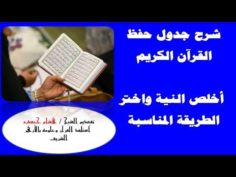 جدول لتسهيل جدول حفظ القران الكريم في سنة