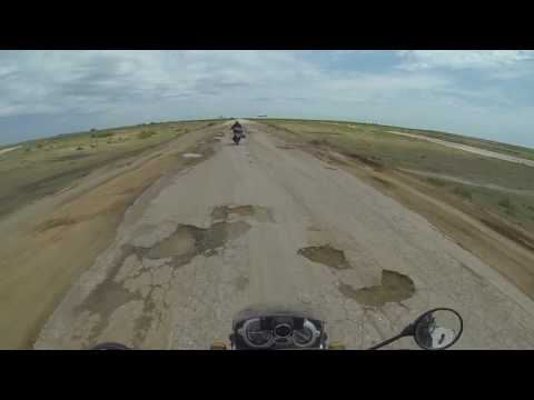 The road from Astrakhan, Russia to Atyrau, Kazakhstan by motorcycle