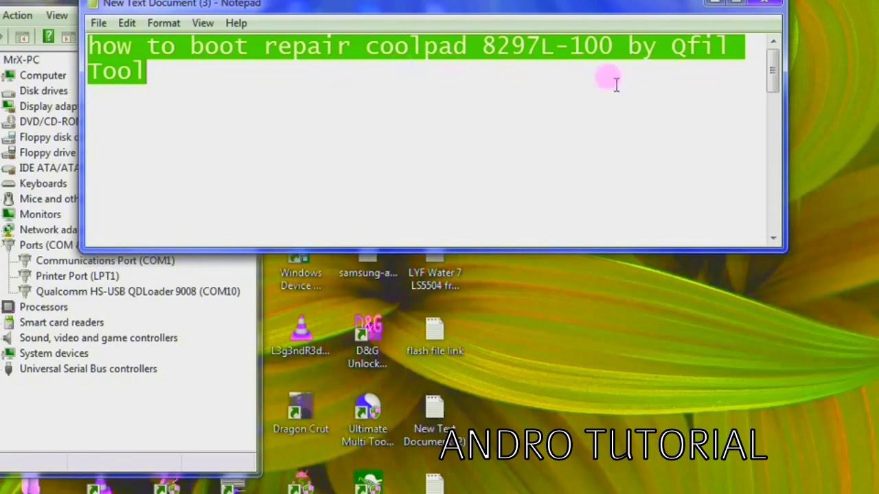 Coolpad dezen 1 8297-I00 dead boot flashing vai qfil
