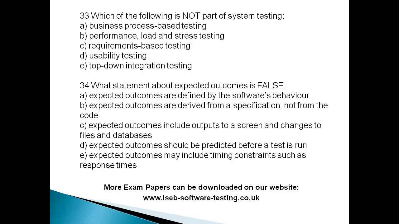 ISTQB Foundation Level - Exam Paper 5 - www iseb-software-testing co uk