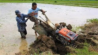 Yanmar Rotary Two Wheel Walking Tractor Stuck in Mud รถไถนาเดินตาม дизельный  трактора