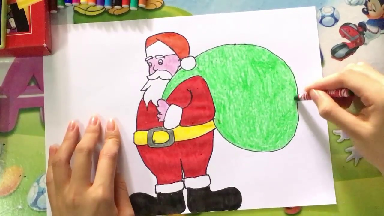 How to draw Santa Claus easy step by step for kids - Jingle Bell - We wish you a Merry Christmas ...