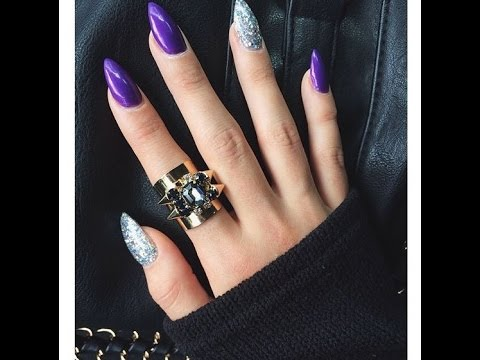 purple acrylic nails designs - YouTube