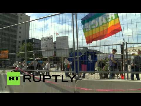 Video: Protesters gather outside Bilderberg meeting in Copenhagen